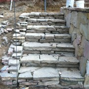Stacked stone steps in Hampton Bays