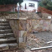 stone masonry installation of steps