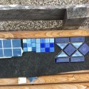 Coping and tile selecting, Rainbow coping stone and glass and porcelain tile choices