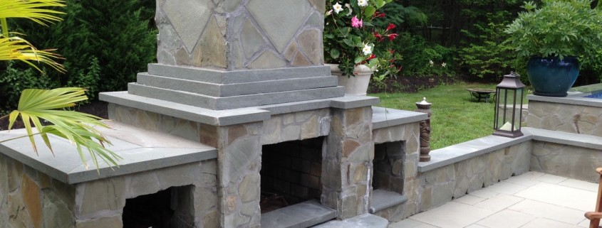 East Hampton out door stone fireplace