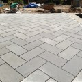 Bluestone patio installed on slab