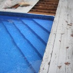 Custom built pool entrance steps staircase