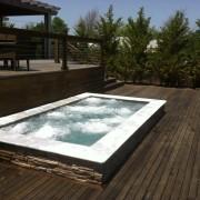Concrete hot tub spa installation