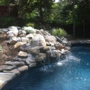vinyl pool masonry water fall
