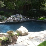 Black granite vinyl pool liner installation
