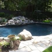 Black granite vinyl pool liner installation