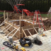 Water Mill gunite pool & spa installation