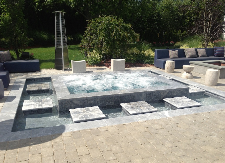Marble mirror gunite spa fountain in bridgehampton for Spa construction