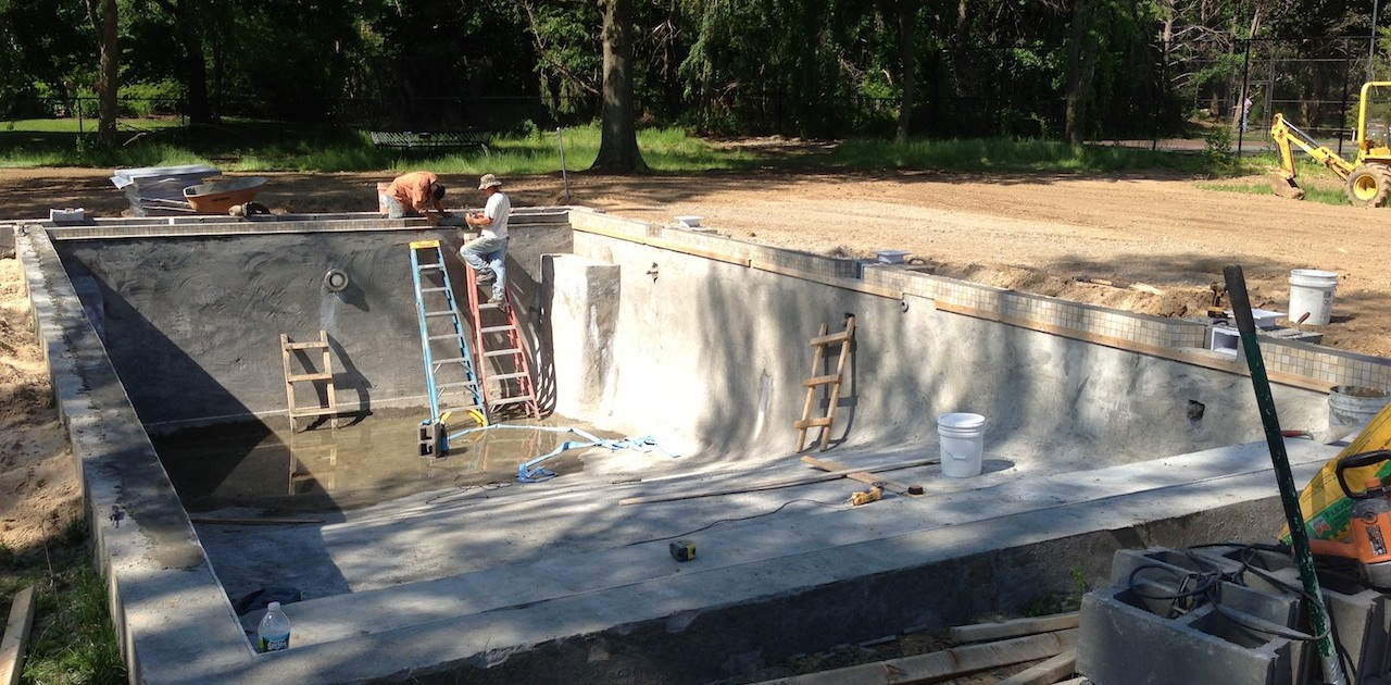dix hills gunite pool construction