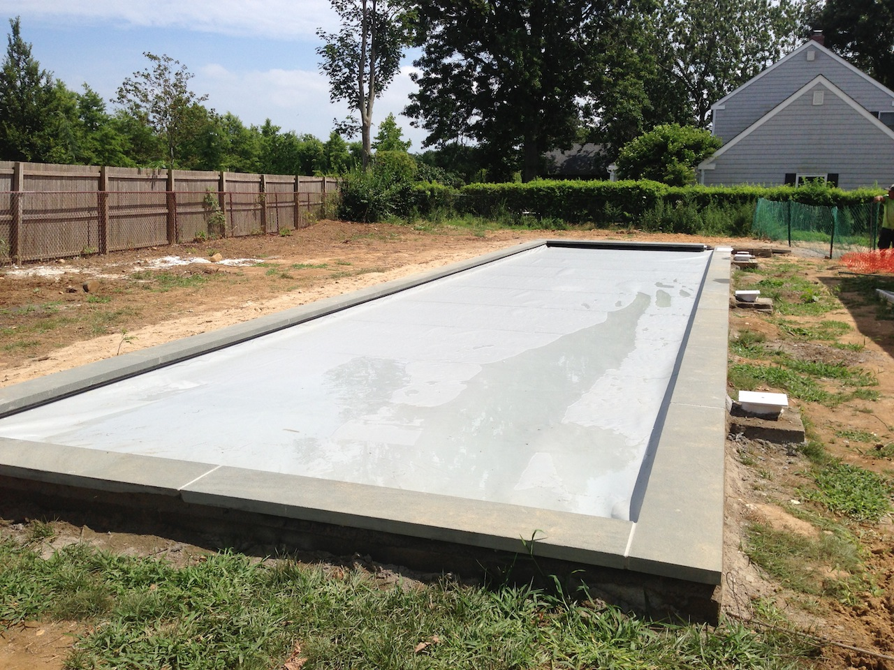 Northfork orient point gunite lap pool installation for Pool installation