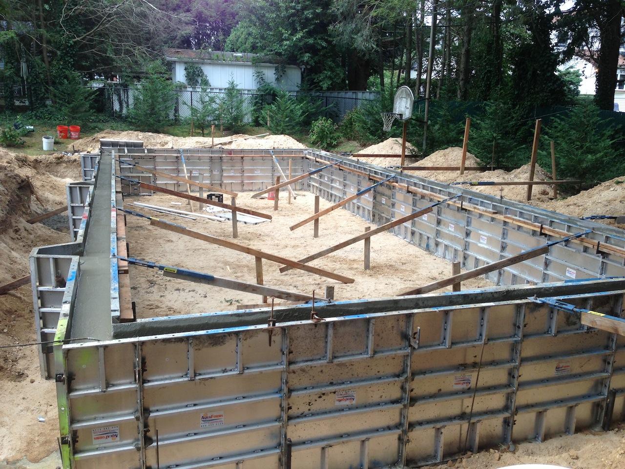 Long island pool bluestone patio installation step by Concrete swimming pool construction