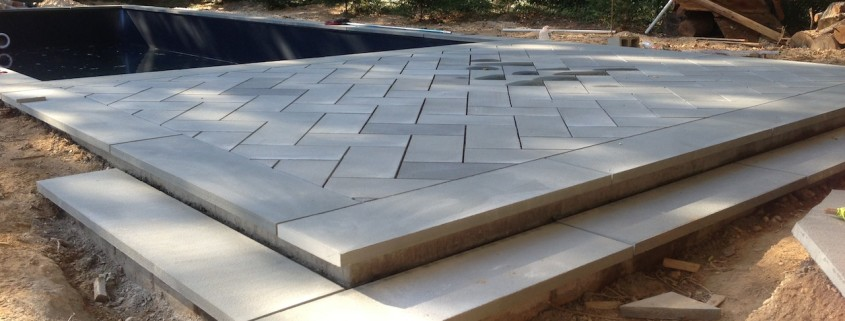 Patricks Pools sagaponack stone installation