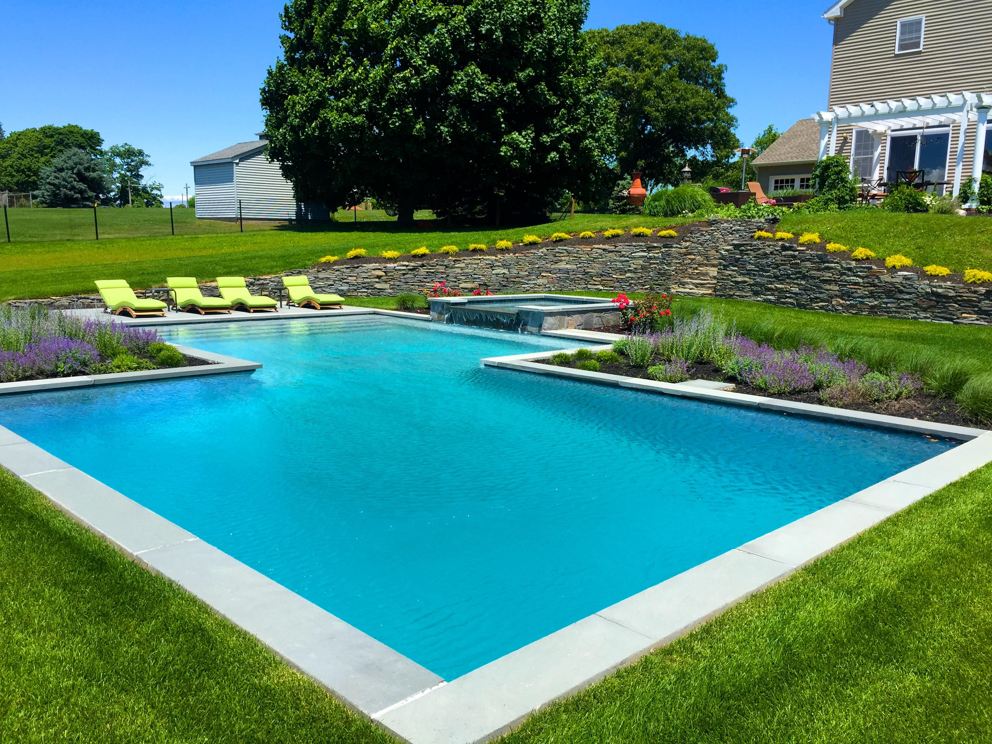 Custom pool spa patio masonry in cutchogue patricks for Pool and spa show wa
