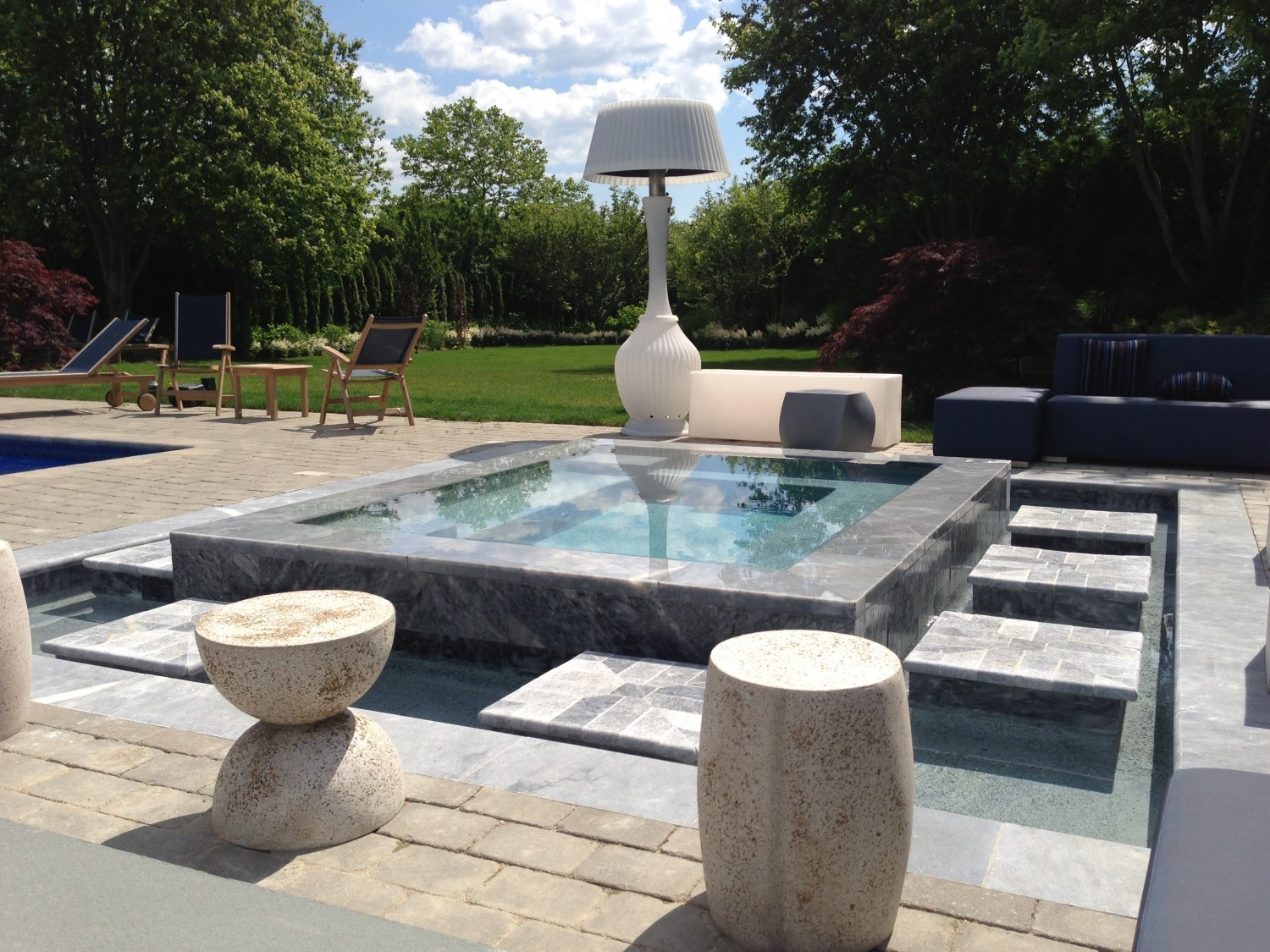 Marble Mirror Gunite Spa Amp Fountain In Bridgehampton