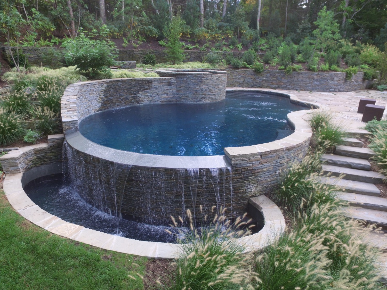 Freeform Gunite Pool With Raised Spa Amp Waterfall In