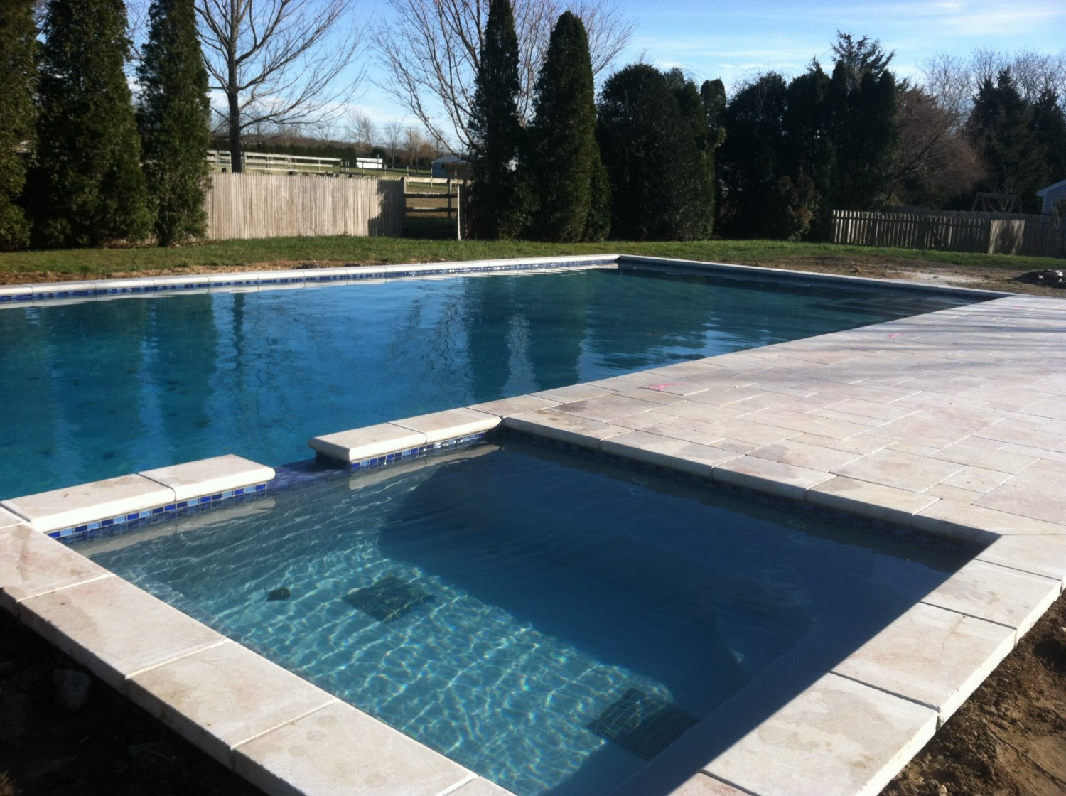 Pool Amp Spillover Spa With Marble In Suffolk County