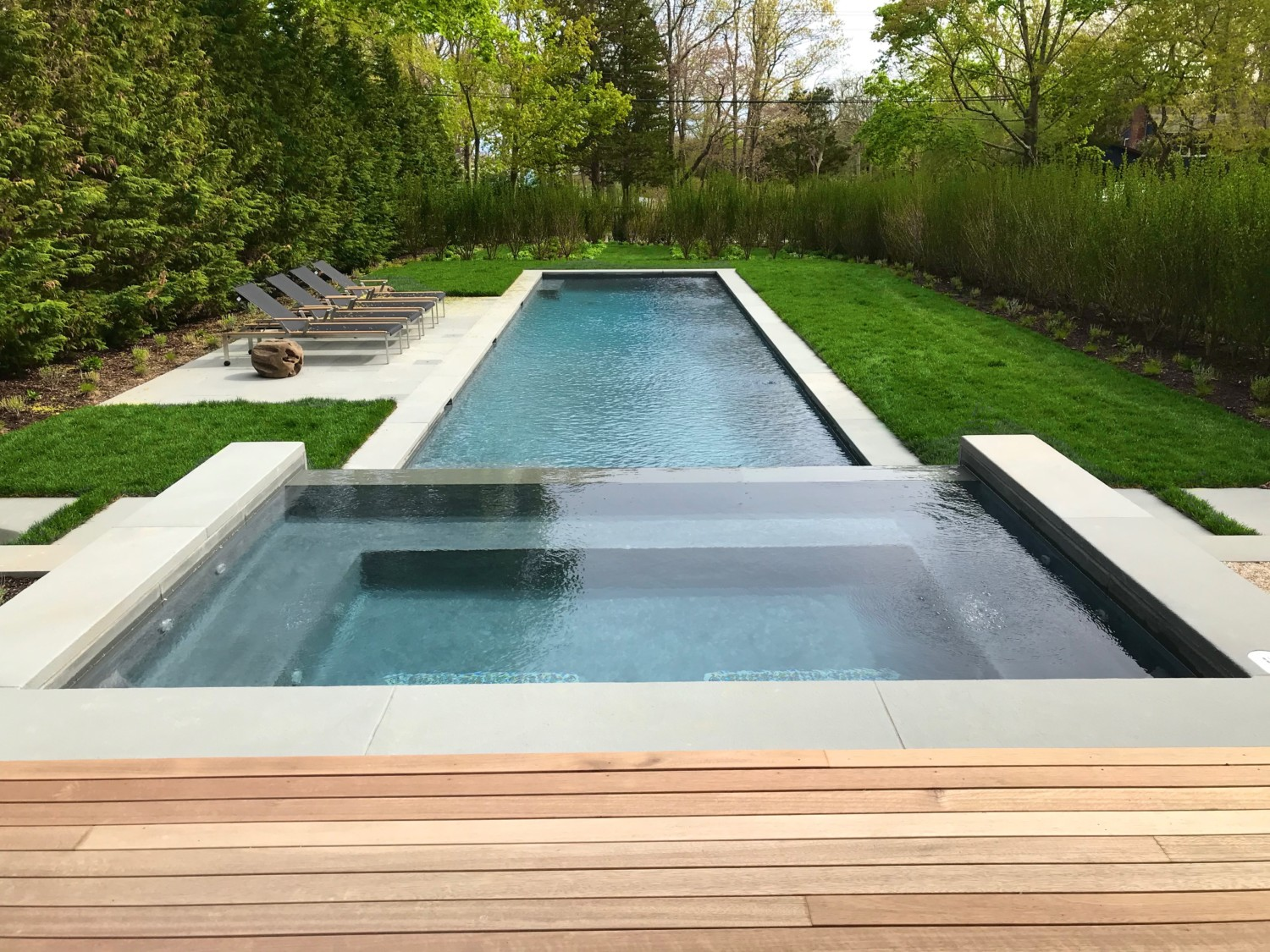 Bluestone Stepping Bridge Across Gunite Pool Amp Spa In